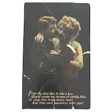 1913  hand-tinted Romantic Post Card from Honey Dearie to Casanova Alonzo.
