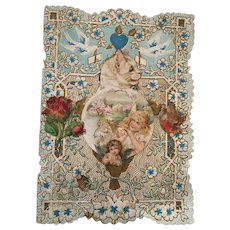 """Circa 1900 Sweet  6"""" x 4 1/2"""" Lace Embossed Valentine Card"""