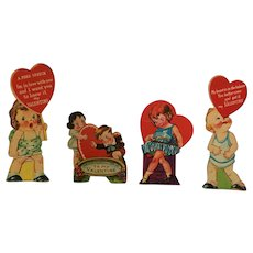 Set of Four Circa 1940s Colorful Cutout Cardboard Valentines