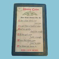 Early 1900s  'Kissing Ticket' Postcard with a Cupid and Entitlements to Kisses