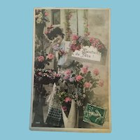Early 1900s Edwardian Hand-tinted Lady with Flowers Postcard