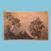 Early 1900s Edwardian Hand-tinted Marked Lady Postcard