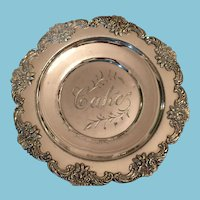 Very Old Silver Plate Inscribed Cake Dish with an Ornate Outer Ring