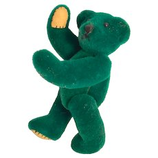 "Miniature  2 1/2"" Forest Green, jointed 'Cutie' Bear, with beige leatherette beary paws"