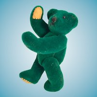 Miniature Forest Green Bear with beige leatherette beary paws