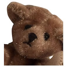 "2"" Tall Clipped Mohair, Artist Made, Honey Bear with a Dark Brown Embroidered Snout, Tiny Glass Black Eyes, and a Pensive Look"