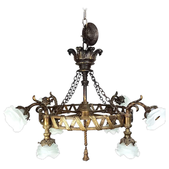 Early 20th Century Massive French Bronze Chandelier Ceiling Fixture with Flower Petal Shades