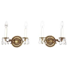 Pair of Brass & Crystals Wall Sconces Fixture - Made in Spain c. 1960