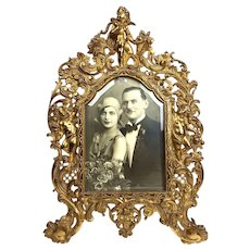 19th Century French Large Bronze Ornate Table Picture Frame - Rococo Style