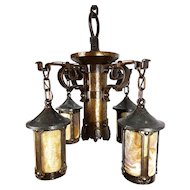 Important Arts & Crafts Mission Slag Glass Hand Hammered Antique Fixture Chandelier Pendant Light - c. 1900-1909