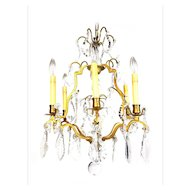 """Vintage French Crystal & Bronze Chandelier """"Lustre Cage"""" Louis XV style - 1930's"""