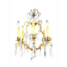 "Vintage French Crystal & Bronze Chandelier ""Lustre Cage"" Louis XV style - 1930's"