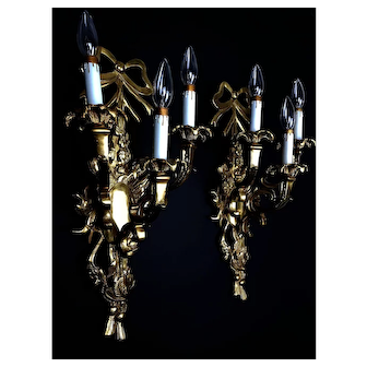 Vintage Large French Brass Wall Sconces - Louis XV Style