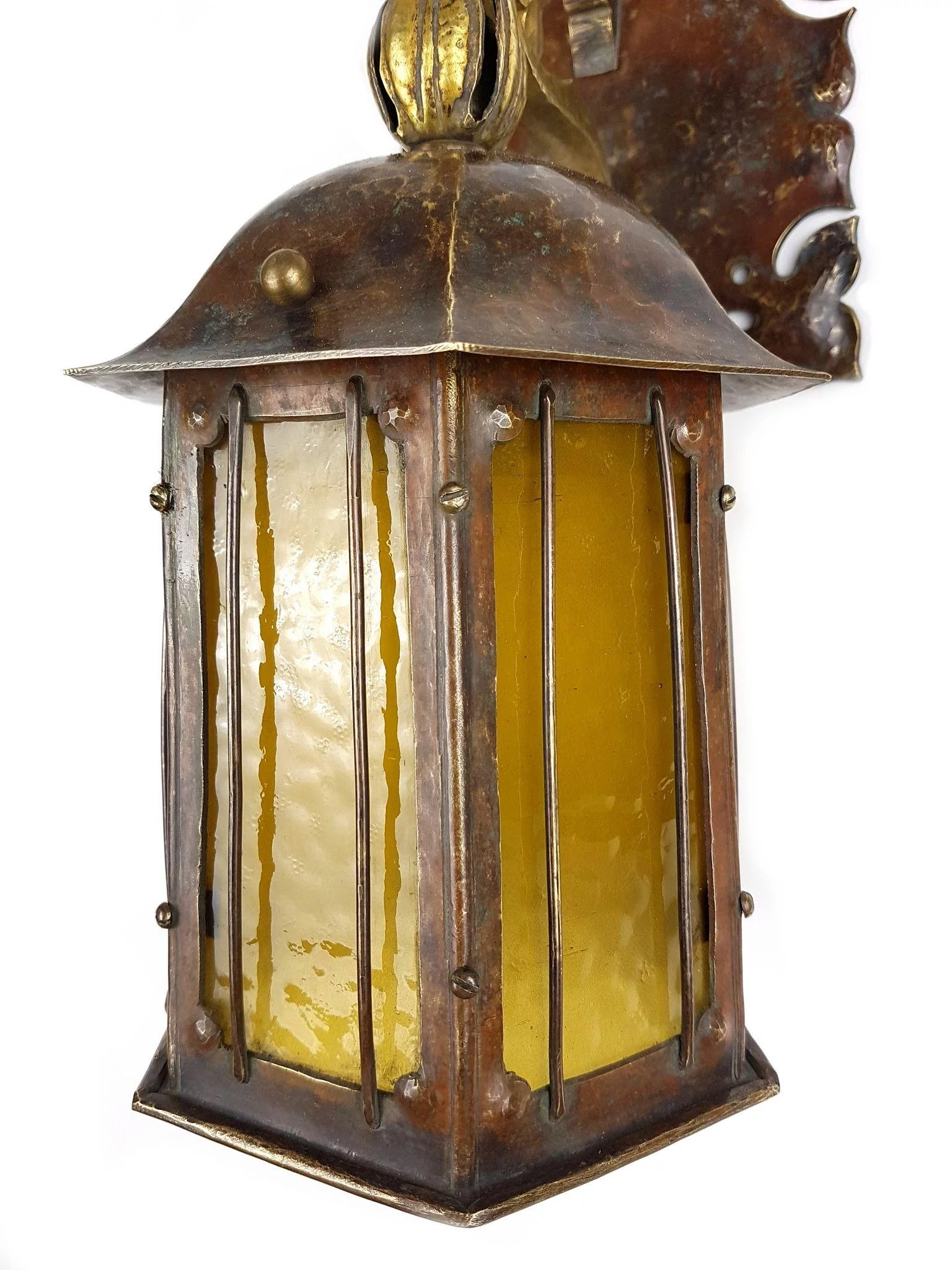 Rare Pair of Nautical Art Nouveau Wall Sconces with Amber Glass ...