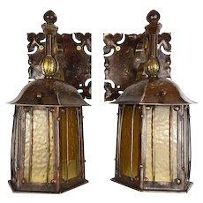 Rare Pair of Nautical Art Nouveau Wall Sconces with Amber Glass Pendant Lanterns - c.1900-1910