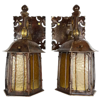 Rare Pair of Nautical Art Nouveau Wall Sconces with Amber Glass Pendant Lanterns - c.1900-1910