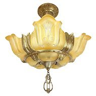Art Deco 5 Lights Slip Shade Flush Mount Chandelier - Bulbous Art Glass