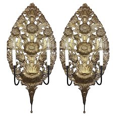 Large Pair of 18th Century Repoussé Brass Wall Sconces