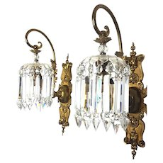Large Vintage French Victorian Crystal & Bronze Wall Sconces