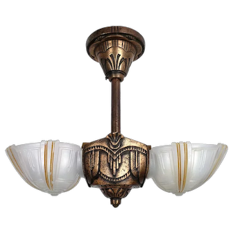Art Deco 2 Slip Shades by Virden - Ceiling Fixture