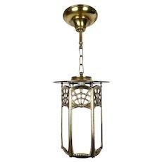 Art Nouveau Large Slag Glass Lantern Pendant Light - 1920's