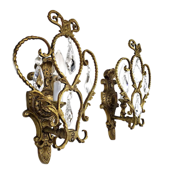 Pair of French Bronze Wall Sconces with Crystal Ornaments - 1950's