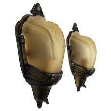 Pair of Art Deco Wall Sconces with Amber Glass Slip Shades - Cast Iron with Bronze Finish - 1930's