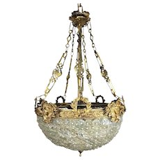 French Empire Chandelier Crystal Bronze Hanging Pendant Light Fixture
