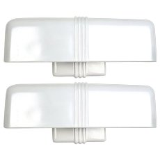 Pair of Art Deco Sanitized Style Porcelain Sconces with Oversized Milk Glass Shades - Late 1930's