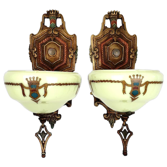 Art Deco Slip Shade Wall Sconces by Gill Glass - Marquette Series