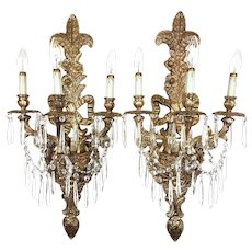 Pair of Massive Vintage Louis XV Style Brass & Crystal Wall Sconces