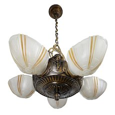 Art Deco 5 Slip Shade Ceiling Fixture by Electrolier MFG.