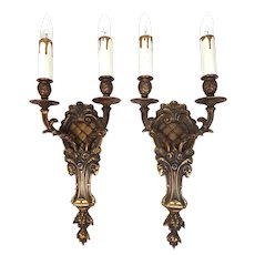 Pair Of American Early 20th Bronze Wall Sconces Decorated With Ram Heads And Roses