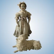 Large English Child Face Wax Over Doll , 1840