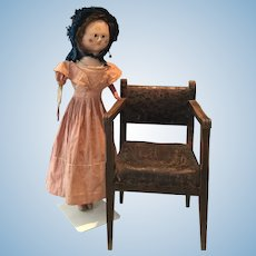 Very rare 1790 antique wooden doll chair