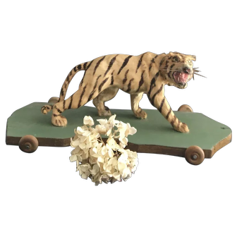Antique pull toy Tiger  19th century