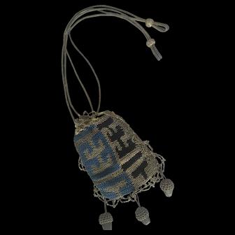 Rare antique 18th Century Reticule for Queen Anne Doll