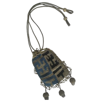 Rare antique 18th Century Reticule for Queen Anne Doll