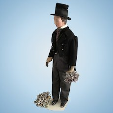 Antique large Papiermache - Man  with brown Hair, end of 18th / early  19th century