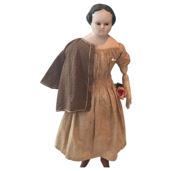 Large Papiermache Doll with Glass Eyes, ca. 1860