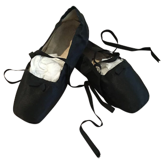 Rare antique black Regency Slippers, early 19th century