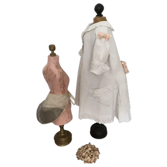 Antique original French white Pique Doll  Coat with  Bustle, 19th century