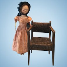 Very rare antique wooden doll  chair ca. 1790
