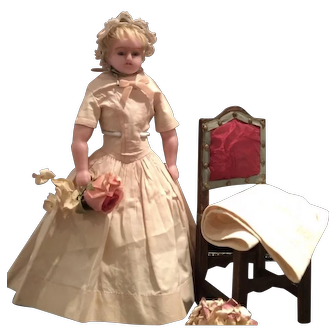 Antique English Pure Wax Doll ca. 1860 in very good Condition
