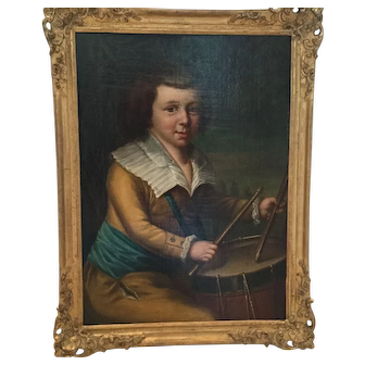 Wonderful , very rare antique oil-painting of a little boy with a drum, from 18th century