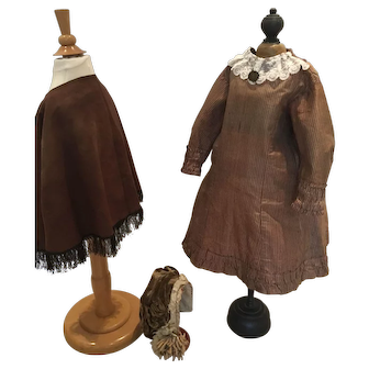 Wonderful dress with cape and bonnet for a large doll or a little girl