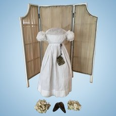 Rare antique Georgian/Regency 3 pieces, Dress, Bag and Shoes