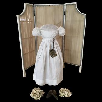 Rare antique Georgian/Regency 3 pieces, Dress, Bag and Shoes