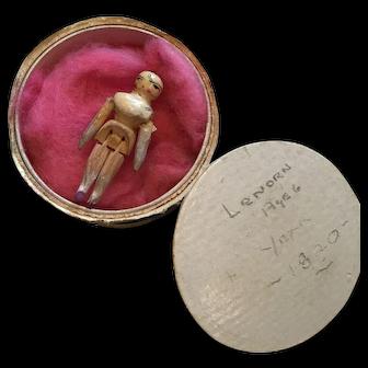 Antique Grödnertal Miniatur Doll with original box, 1810-1820