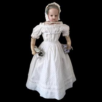 Antique English Pure Wax Child Doll, ca. 1850 all original